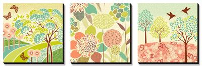 Summer Patterns Triptych ポスター