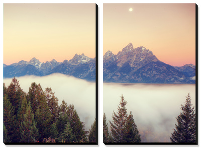 Moonlight and Foggy Snake River Overlook, Grand Teton Prints by Vincent James