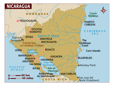 map of nicaragua with capital. Map of Nicaragua, Central