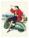 Affiche pour Vespa de Piaggio avec une femme Reproduction procédé giclée