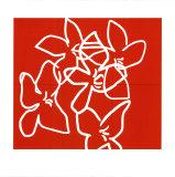 Fleurs Blanches Sur Fond Rouge, c.2003 Serigraph by Nicolas Le Beuan Bénic