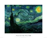 Stjärnklar natt, 1889 Planscher av Vincent van Gogh
