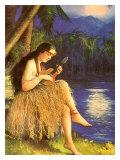 Hawaii, Hula Wahine Ukulele Giclee Print