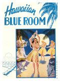 Hawaiian Blue Room, Hula Dance Giclée-tryk