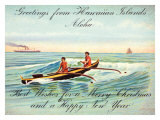 Hawaii, Outrigger, Christmas Greeting Giclee Print