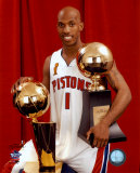 Chauncey Billups - 2004 NBA Championship &amp; MVP Trophies  &#169;Photofile Photo