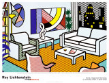 Interior con rascacielos al fondo Lmina por Roy Lichtenstein