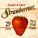 Sweet and Juicy Strawberries Prints by David Carter Brown