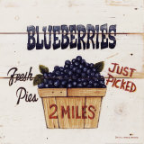 Myrtilles - Blueberries Just Picked Posters par David Carter Brown
