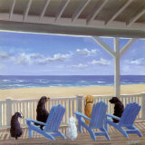 Dogs on Deck Chairs Poster by Carol Saxe