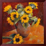 Jug Of Sunflowers Art by Edward Noott