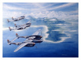 WWII, P38 Lightnings in the Pacific Giclee Print