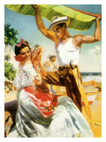 Señorita on Beach with Banana Leaf Giclee Print