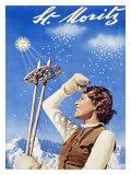 St. Moritz, Snow Ski Giclee Print