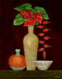 Red Anthuriums Posters by Misa Eva