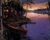 Canoa en la cabaña Póster por Ervin Molnar