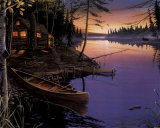 Canoe at the Cabin Art by Ervin Molnar