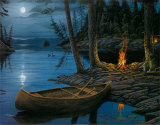 Camp Fire Canoe Prints by Ervin Molnar