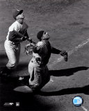 Yogi Berra - catching action / sepia &#169;Photofile Photo