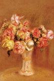 Rosas en un jarrón de porcelana de Sevres Póster por Pierre-Auguste Renoir