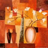 Fleurs sur fond géométrique orange II Affiches par Alfred Gockel