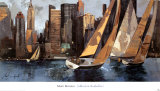Sailboats in Manhattan I Posters by Marti Bofarull
