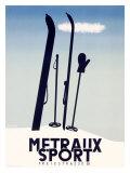 Metraux Downhill Ski Sports Giclee Print