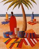 Le marche de la plage Prints by  Moga