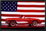 Corvette, 1957 - U.S. Flag Prints