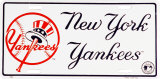 NY Yankees License Plate Plechová cedule