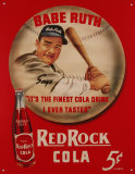 Anuncio de cola Red Rock con Babe Ruth Cartel de metal