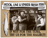 Three Stooges Fresh Fish Tin Sign