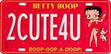 Matrícula Betty Boop 2CUTE4U Cartel de chapa
