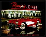 Rosie's Diner, voiture rouge Plaque en métal par Lucinda Lewis