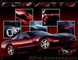 50 Jahre Chevy Corvette mit Auto Blechschild