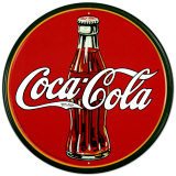Cola Flasche aus den 30ern&#160; rundes Logo Blechschild