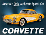Chevy '58 Vette Plechová cedule