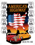 Route 66 America&#39;s Highway Tin Sign