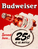 Budweiser 25 Cents Tin Sign