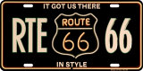 RTE 66 License Plate Tin Sign