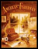 Pescador americano Cartel de metal
