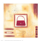 Red Vintage Purse Print by Lucy Barnard