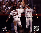 Manny Ramirez with Doug Mientkiewicz during game 2 of the 2004 ALDS ©Photofile Photo