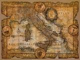 Karta över Italien Posters av John Douglas
