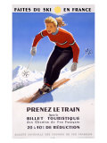 Downhill Snow Ski France Impression giclée
