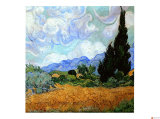Wheatfield with Cypresses, c.1889 Giclee Print by Vincent van Gogh