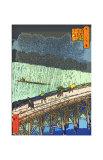 O-Hashi (Big Bridge) at Atake in Summer Shower Giclee Print by Ando Hiroshige