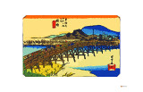 Yahagi Bridge with Okazaki Castle in Background Giclee Print by Ando Hiroshige