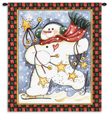 Dancing Snowman Wall Tapestry by Diane Knott