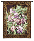 Irises and Peonies Wall Tapestry by Linda Thompson